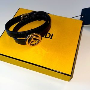 Fendi Calf Leather Metal Logo Bracelet Size Large